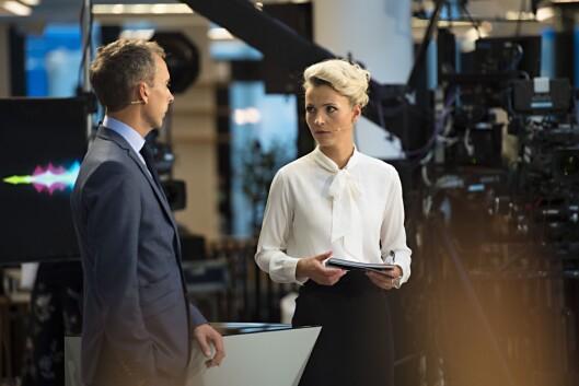 Ingunn Solheim og daværende programledermakker Jarle Roheim Håkonsen før NRKs partilederdebatt i Bergen i 2017.
