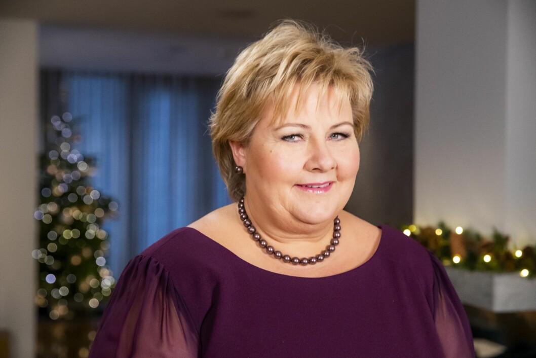 Statsminister Erna Solberg (H) holder nyttårstalen 2018 i statsministerboligen.