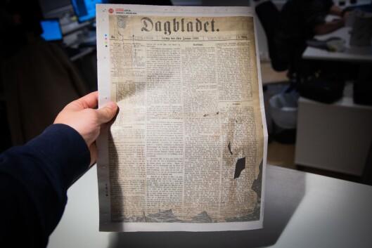 Slik såg Dagbaldet si første utgåve ut –gjengjeve i avisa si jubileumsutgåve 2. januar 2019.