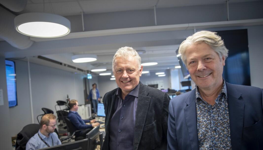 Politisk redaktør Erik Stephansen og sjefredaktør Gunnar Stavrum i Nettavisen.
