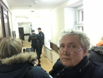 Utanfor rettssalen i Lefortovo i Moskva medan han venta på Frode Berg