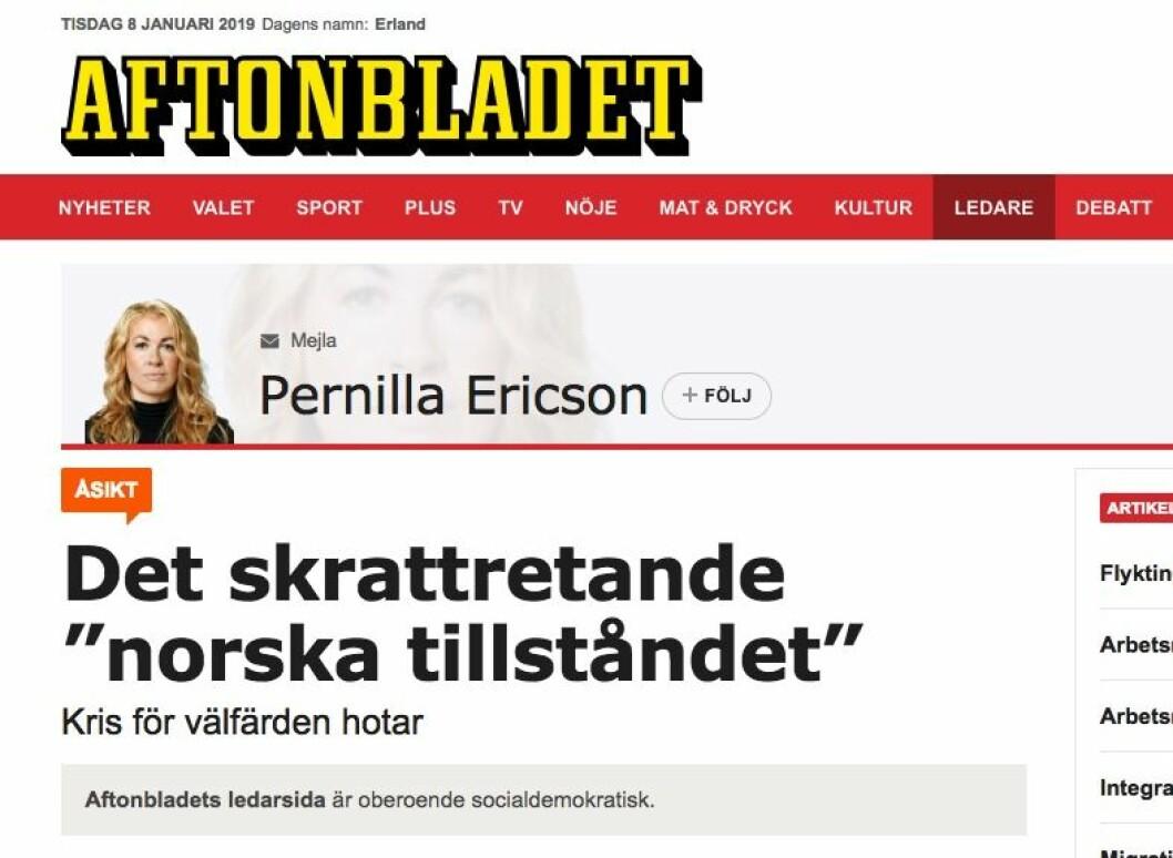 Skjermdump fra Aftonbladets kommentar.