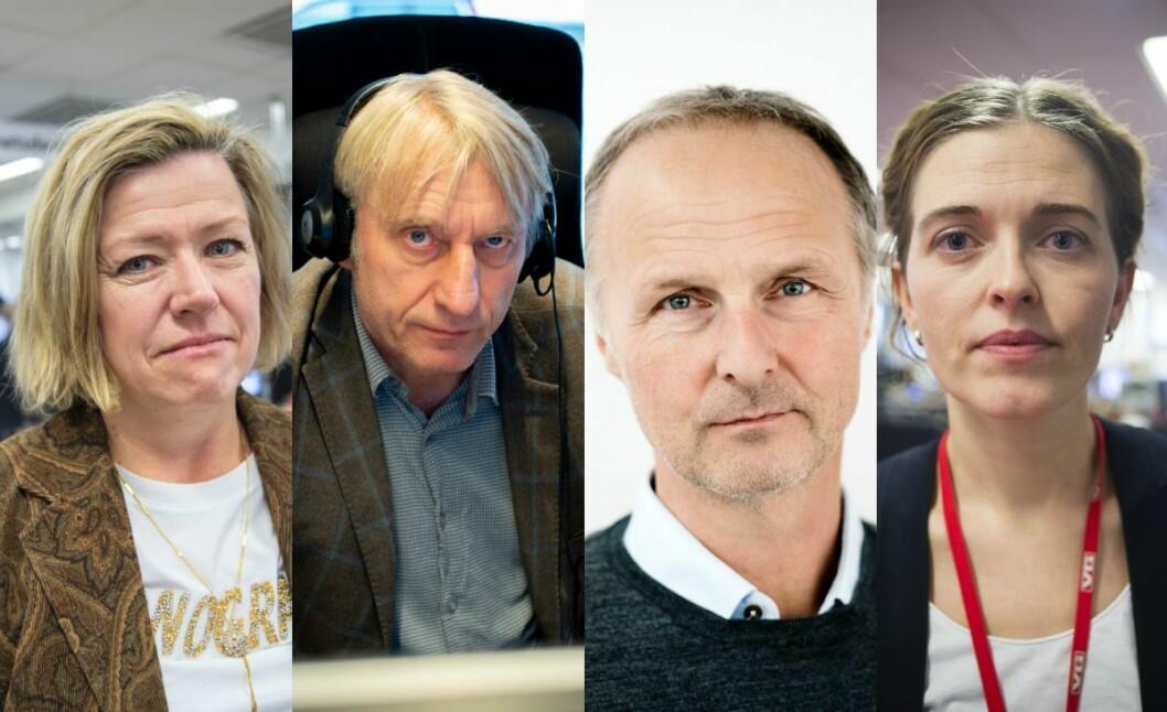 Frå venstre: Tone Tveøy Strøm-Gundersen i Aftenposten, Magne Storedal i Romerikes Blad, Tor Magne Nondal i Dagens Næringsliv og Tora Bakke Håndlykken i VG.