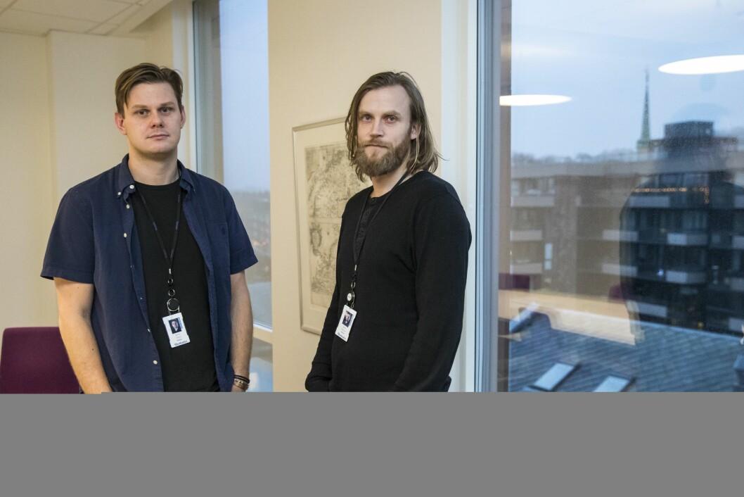 Journalist i Adresseavisen, Jonas Alsaker Vikan, her saman med grafikar i Adresseavisen, Jonas Nilsson.