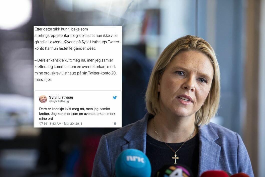 Nestleder Sylvi Listhaug i Fremskrittspartiet. Innfelt: NRKs artikkel før den ble endret.