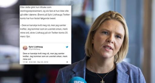 NRK siterte falsk Twitter-konto: Skrev at Sylvi Listhaug (Frp) ville «komme som en uventet orkan»
