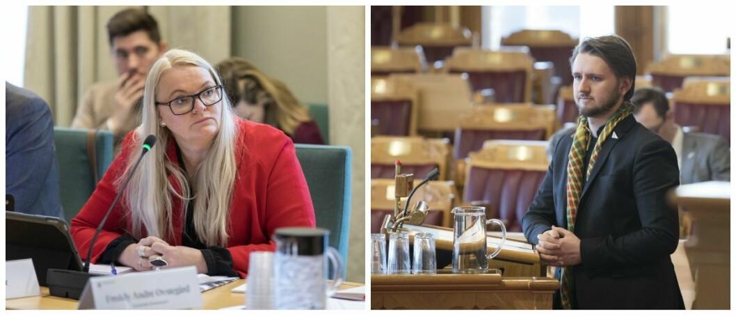 Mediepolitisk talsperson Åslaug Sem-Jacobsen i Senterpartiet og mediepolitisk talsperson Freddy Øvstegård i SV.