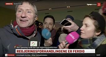 Her blir TV 2-reporter Finn-Ove Hågensen avbrutt på direkten