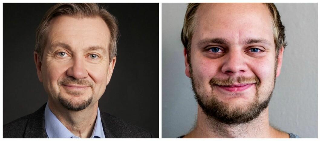 Fagmedarbeider Trygve Aas Olsen ved Institutt for journalistikk og nyhetssjef Mímir Kristjánsson i Klassekampen.