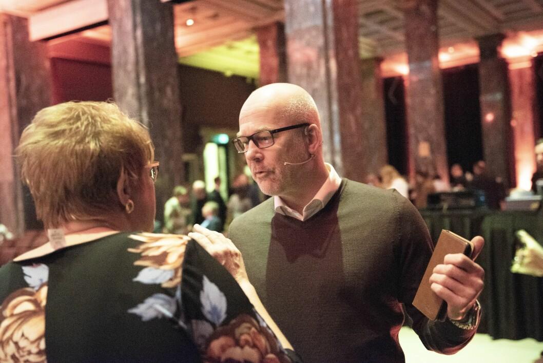Kringkastingssjef Thor Gjermund Eriksen i NRK i samtale med kulturminister Trine Skei Grande under Dagbladets 150-årsfeiring.