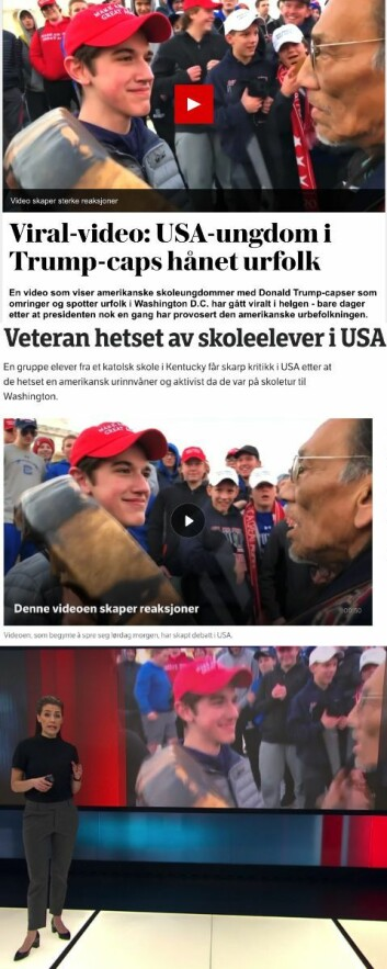 Frå øvst til nedst: VG, NRK og TV 2.