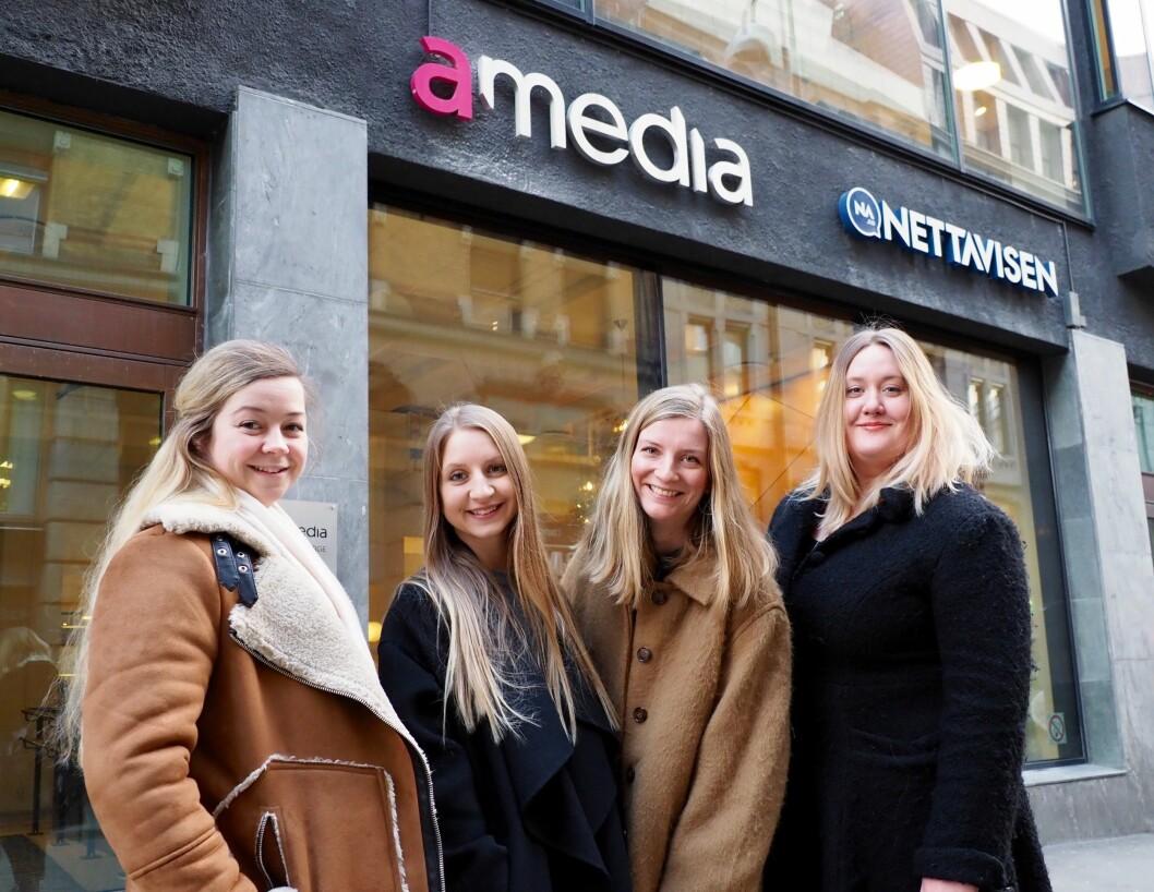 Fra venstre: Julie Arntsen, Gisken Amanda Eriksen, Vilde Nybakken og Silja Einarsdóttir er alle ansatt som journalister i Fremover i 2019.