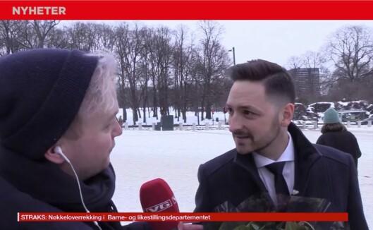 VG-reporter Espen Breivik i intervju med komiker som later som han er statsråd Dag Inge Ulstein (KrF) fra da Satiriks sist lurte medier.