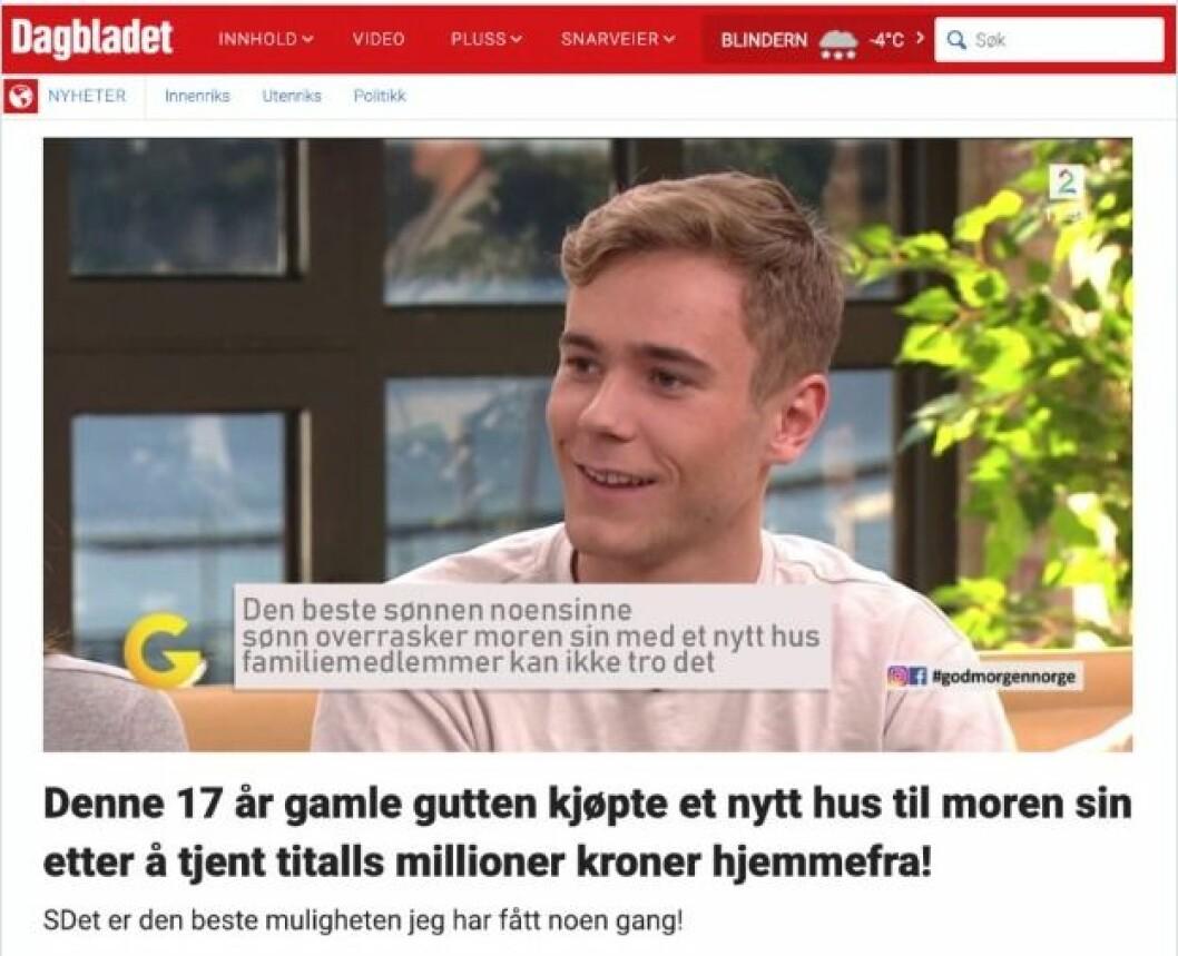 Slik ser den falske Dagbladet-artikkelen ut.