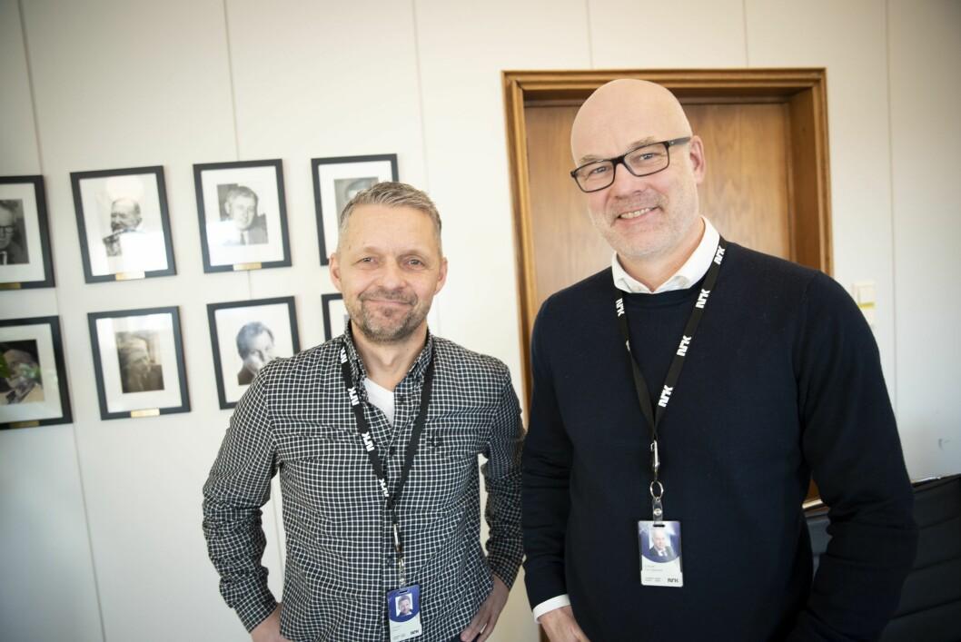 Distriktsdirektør Marius Lillelien og kringkastingssjef Thor Gjermund Eriksen i NRK.
