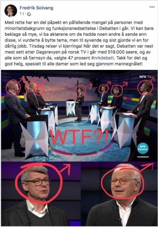 Fredrik Solvang skriver at de beklager mangelen på minoriteter og kvinner i NRK-programmet «Debatten».
