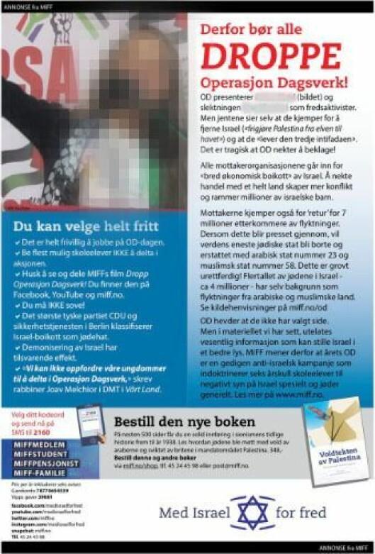 Slik så MIFF-annonsen ut på trykk i Vårt Land og flere andre norske aviser.
