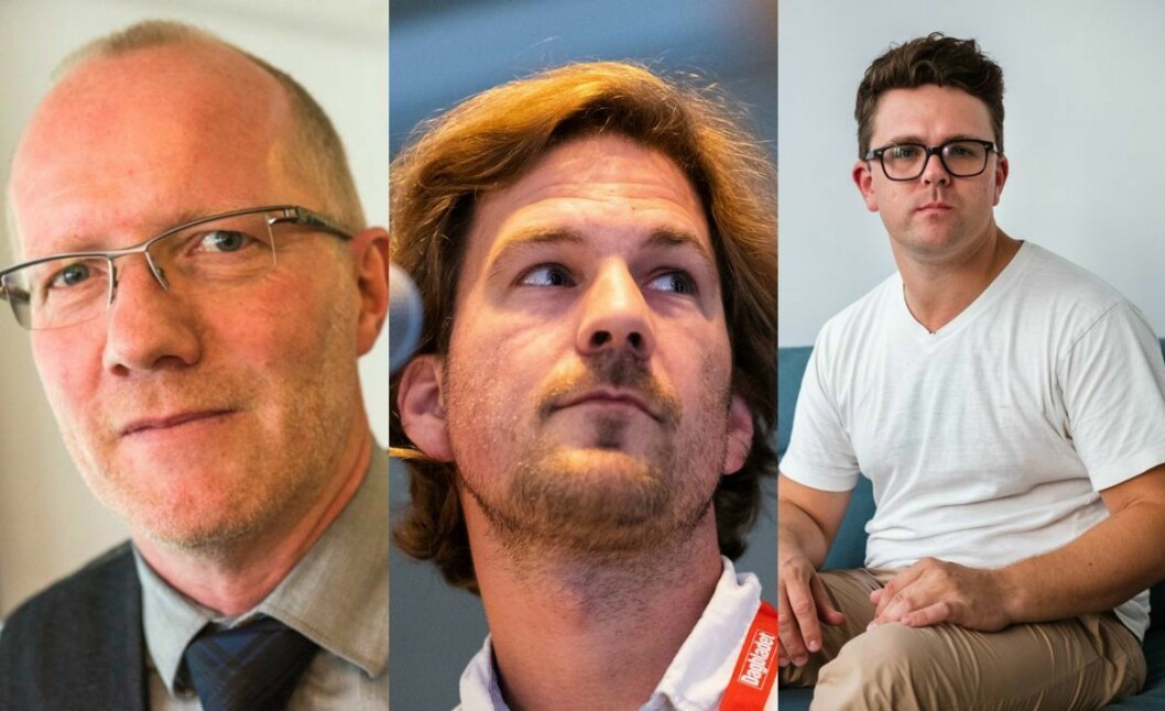 Generalsekretær i Norsk Redaktørforening, Arne Jensen, Dagbladet-journalist Eiliv Frich Flydal og Vegard Venli i NRK.