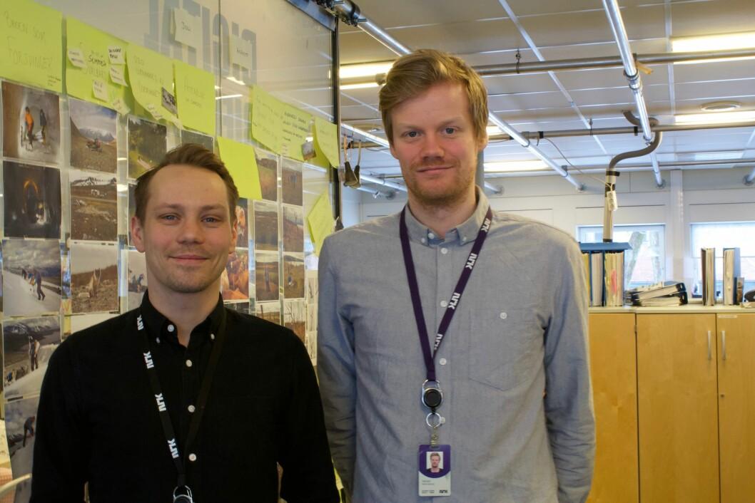 Kim Jansson, vaktsjef i digital historiefortelling og dokumentar i NRK, og journalist Mads Nyborg Støstad forteller om hvordan de jobber fram sine større xl-saker