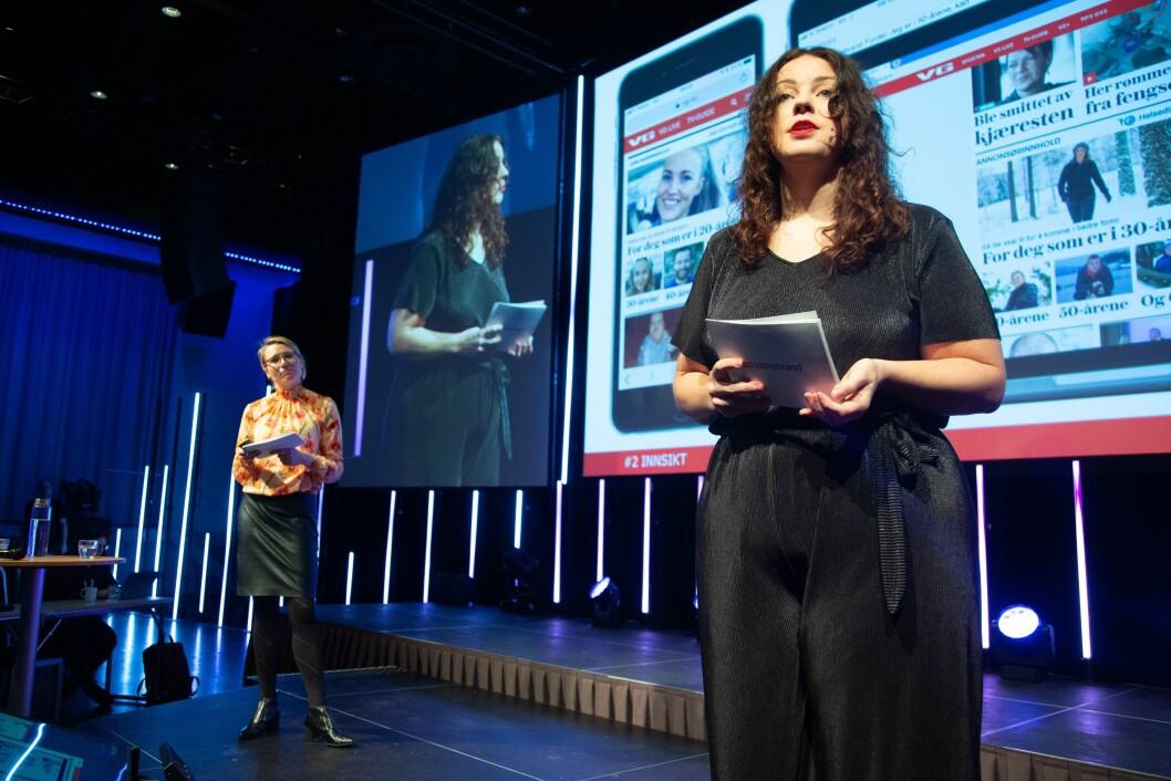 Hilde Stray Due og Ingrid Stakkestad i Storebrand. Her på Social Media Days i 2019.