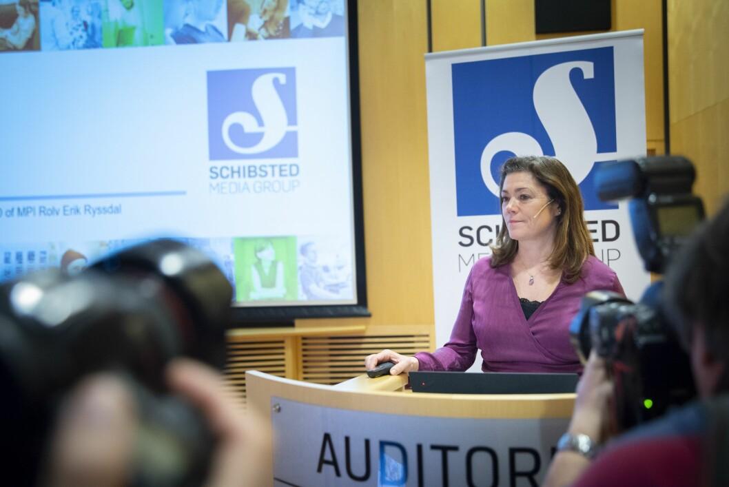 Konsernsjef Kristin Skogen Lund fra Schibsteds kvartalspresentasjon  februar 2019.