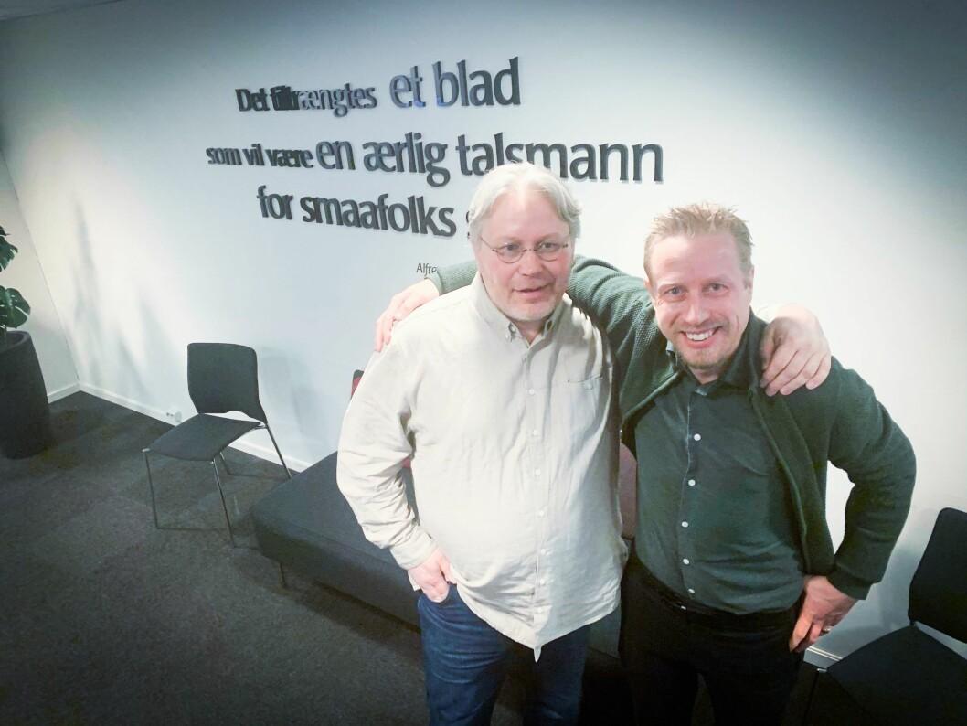 Politisk redaktør i Nordlys, Skjalg Fjellheim, her med Faktisk.no-redaktør Kristoffer Egeberg.