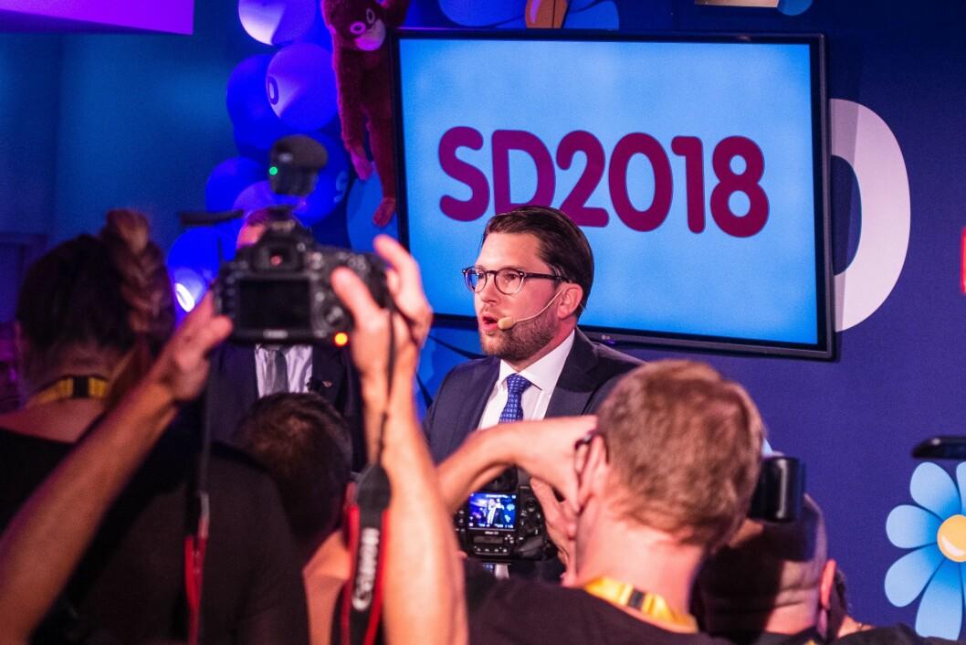 Jimmie Åkesson, her under Sverikedemokraternas valgvake. .