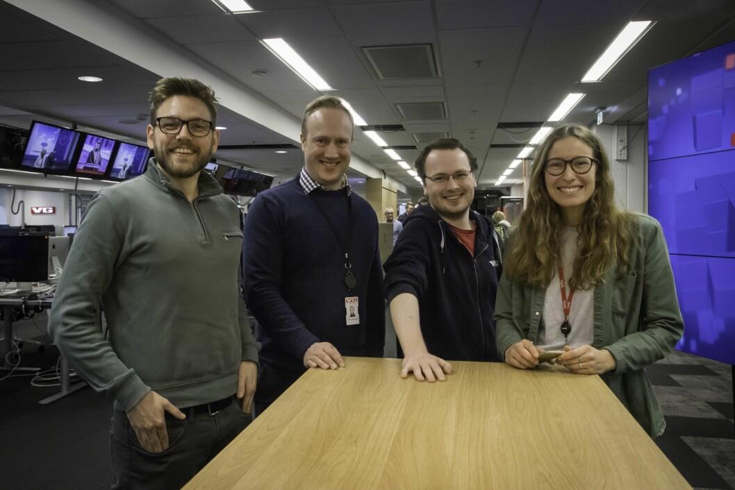 Et knippe av de mange personene som har jobbet med lanseringen av VGs nye app: Kim Gabrielsen, Francis Lundh, Martin Pedersen og Mari Hæreid