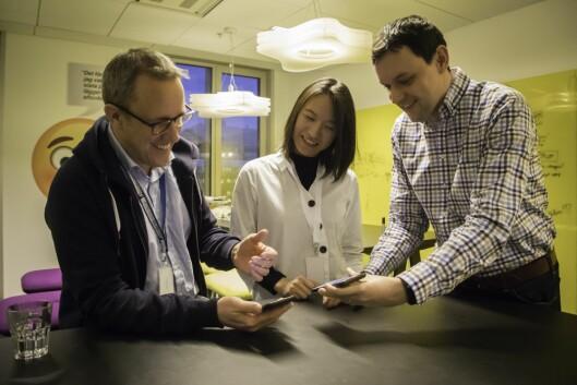 Jonas Salling, Yuwen Hu og Gabriel Minarik i iOS-teamet i Stockholm har vært sentrale i utviklingen av Schibsteds iOS-app.