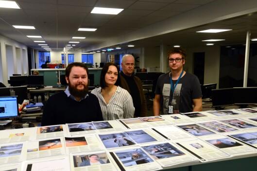 AN-journalistene (f.v.) Alexander Kjønsø Karlsen, Siri Gulliksen, Tom Melby (fotograf) og Anders Bergundhaugen.