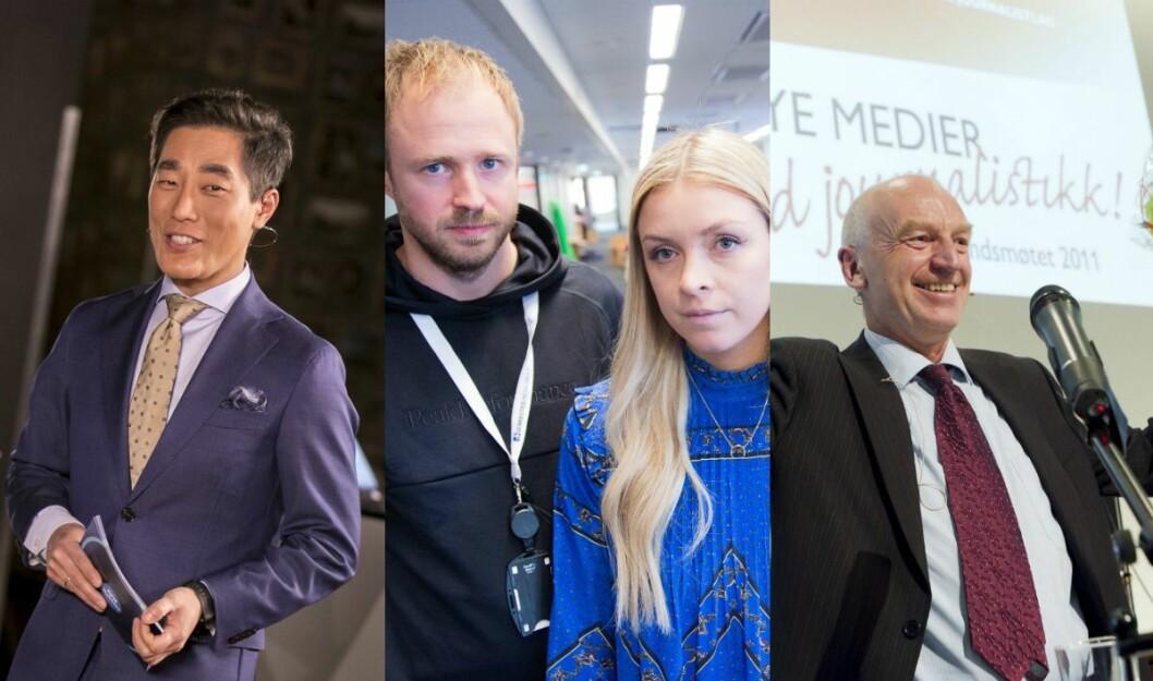 Programleder Fredrik Solvang i NRK, VGs Jørgen Braastad og Camilla Huuse, og NRK-journalist Odd Isungset til høyre.