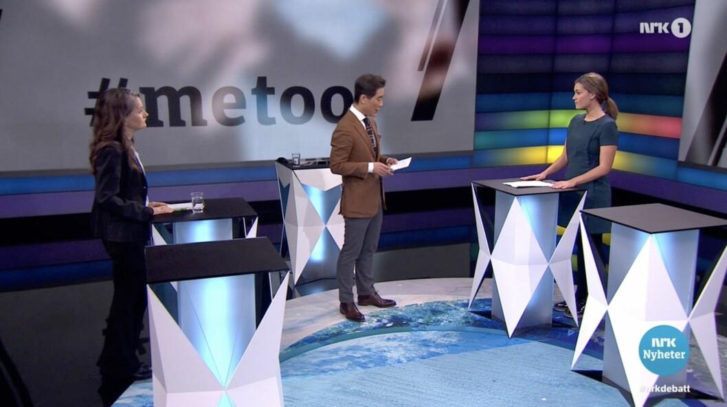 Debatten tirsdag 26. februar: Fra venstre: Politisk redaktør i VG, Hanne Skartveit, NRK-programleder Fredrik Solvang og samfunnsdebattant Sara Berge Økland.