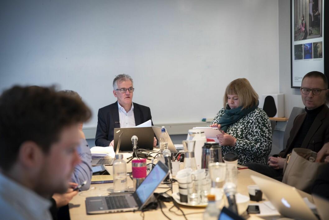 PFU-leder Alf Bjarne Johnsen og generalsekretær Elin Floberghagen i Norsk Presseforbund under PFU-møtet 27. februar 2019.