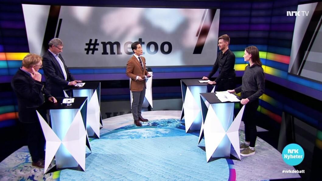 Fra NRKs debatten tirsdag 26. februar 2019: I etterkant av programmet har de fått kritikk for å ha et for mannsdominert panel.