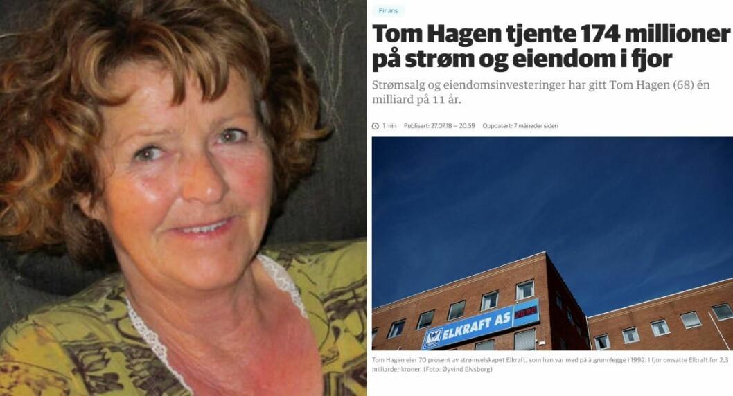 Antatt kidnappede Anne-Elisabeth Hagen. Til høyre en Dagens Næringsliv-artikkel om Hagens ektemann, Tom Hagen, fra juli 2018. Artikkelen omtalte forretningsmannen økonomi.