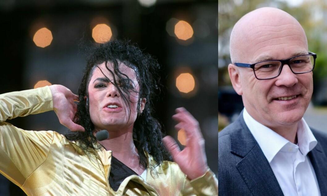 Til venstre er Michael Jackson i aksjon under konsert på Valle Hovin. TIl høyre er kringkastingssjef i NRK, Thor-Gjermund Eriksen.