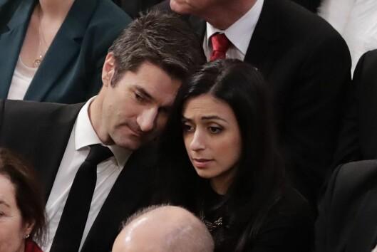 Hadia Tajik (Ap) og Kristian Skard under fredsprisutdelinga i Oslo Rådhus i desember.
