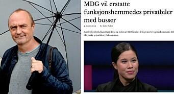 Jarle Aabøs nettavis tar feil:MDG vil ikke erstatte funksjonshemmedes privatbiler med busser
