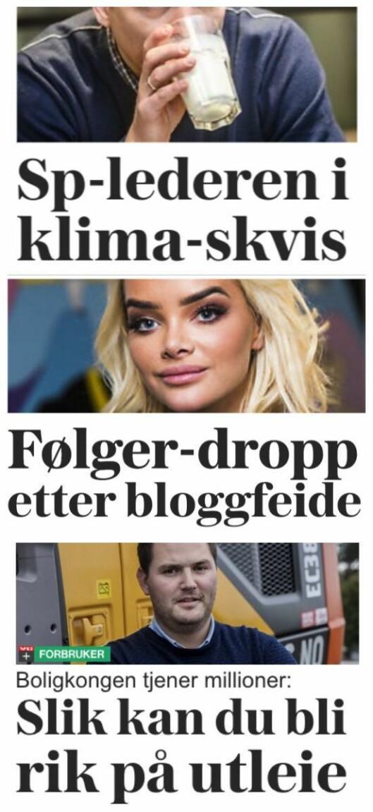 Faksimiler fra VGs forside tirsdag - tre timer etter stornyheten fra Sør-Varanger kom.