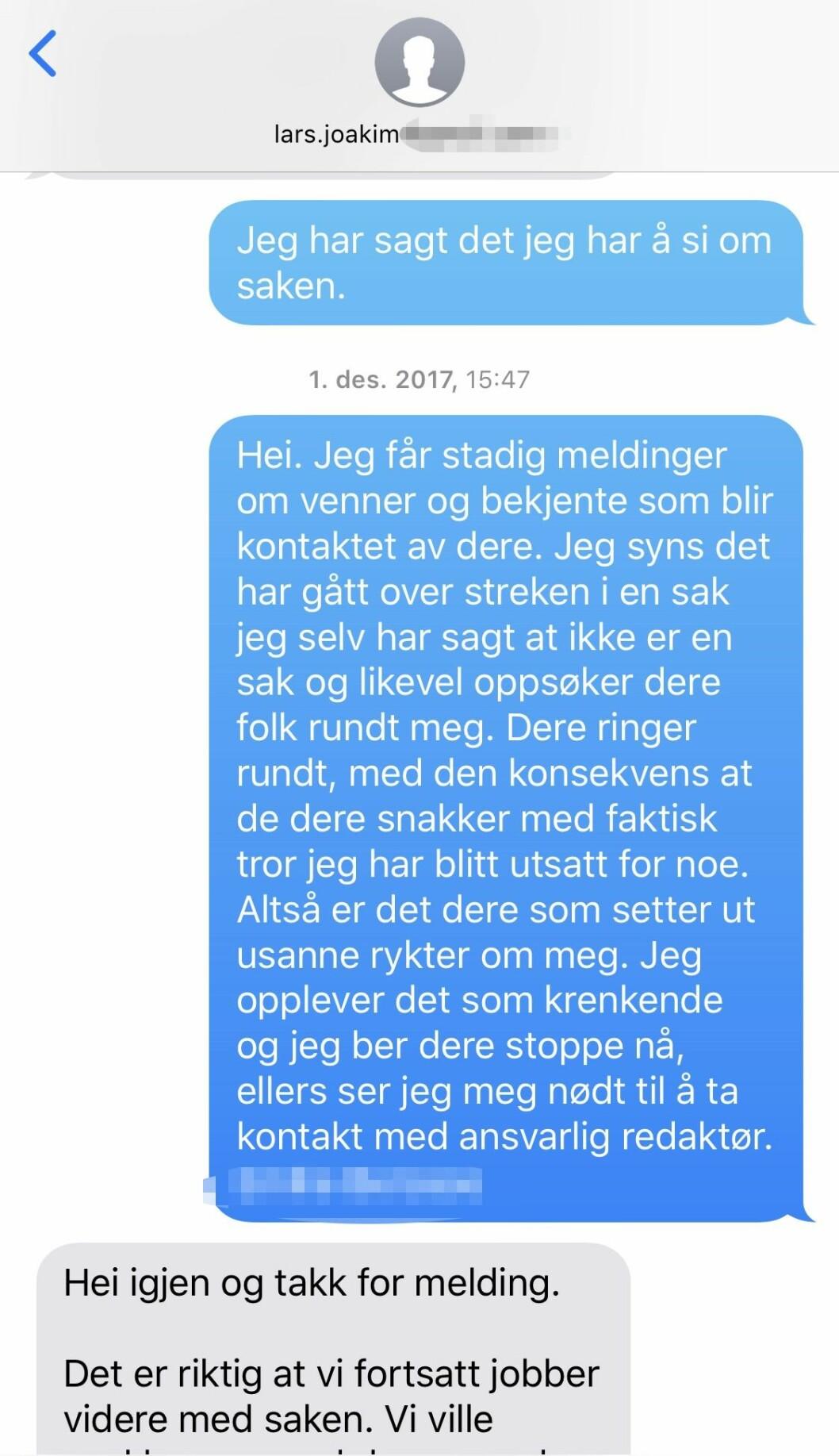 SMS mellom kvinnen og VGs journalist.