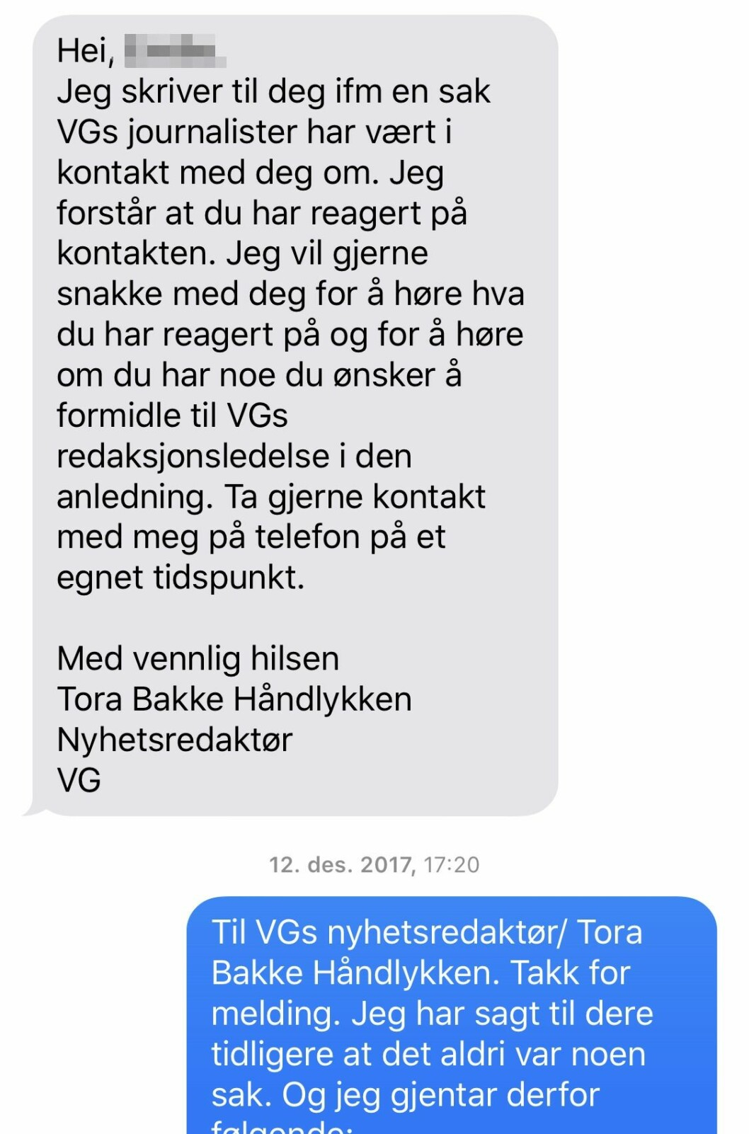 SMS fra nyhetsredaktør Tora Bakke Håndlykken i VG til kvinnen.