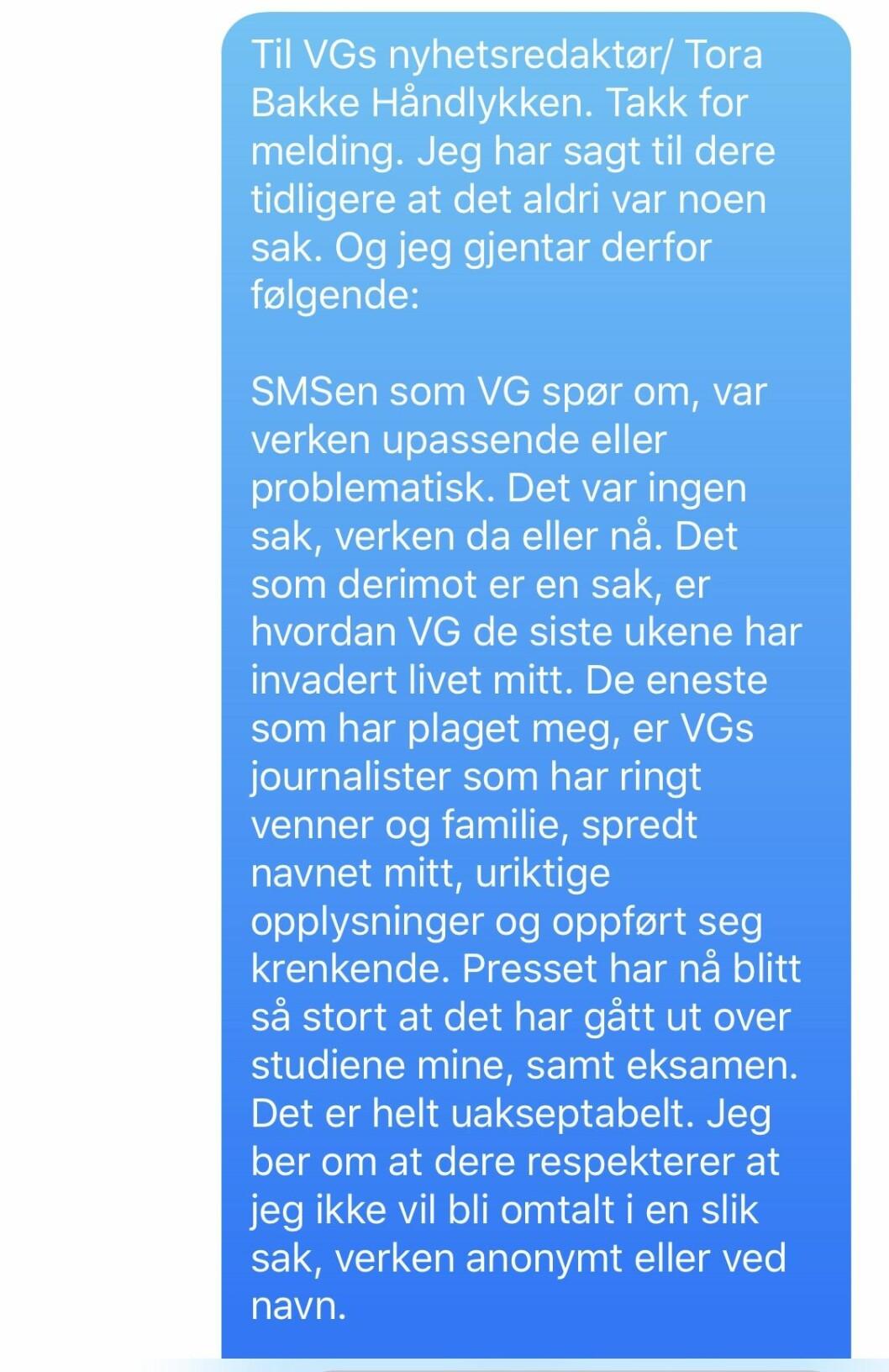 Kvinnens SMS til Tora Bakke Håndlykken.