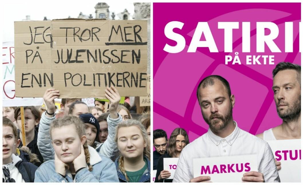 Komiker Thomas Teige i NRK Satiriks utga seg for å være fra regjeringen og lovet de streikende skoleelevene foran Stortinget at de vil få godkjent fraværet.