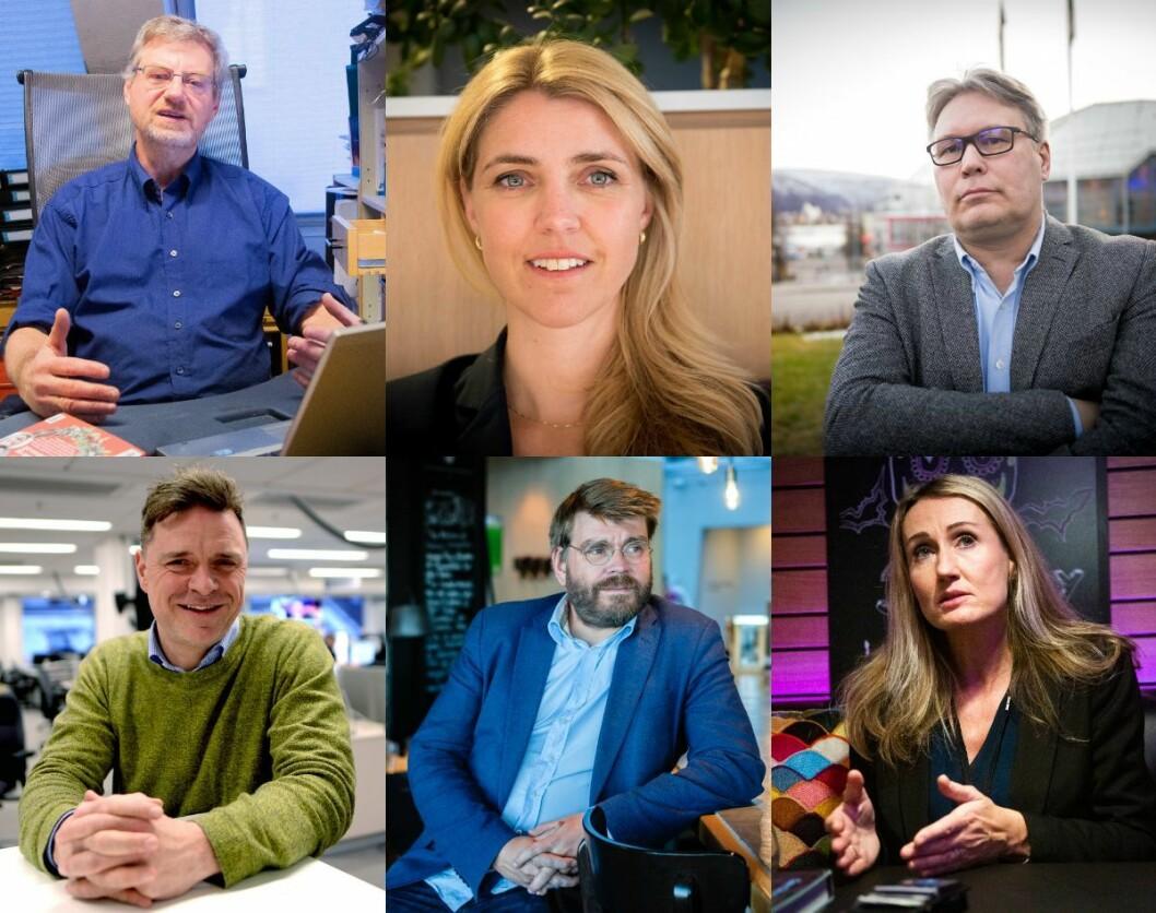 Magne Lerø (Dagens Perspektiv), Alexandra Beverfjord (Dagbladet), Skjalg Fjellheim (Nordlys), Espen Egil Hansen (Aftenposten), Sigvald Sveinbjørnsson (Bergensavisen) og Kirsti Husby (Adresseavisen).