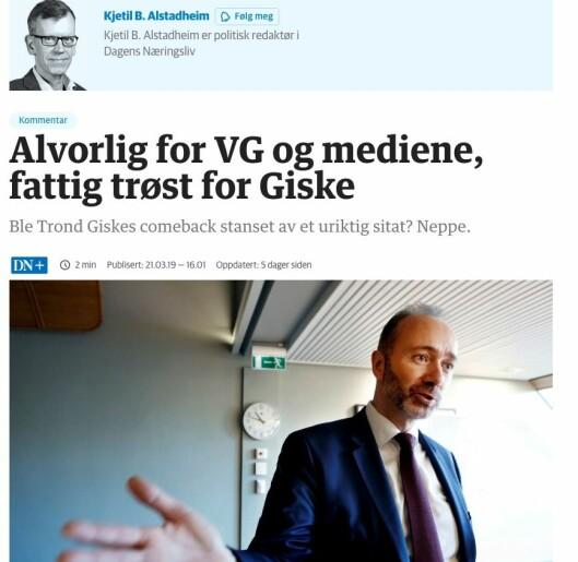 Faksimile fra Alstadheims kommentar på nett.