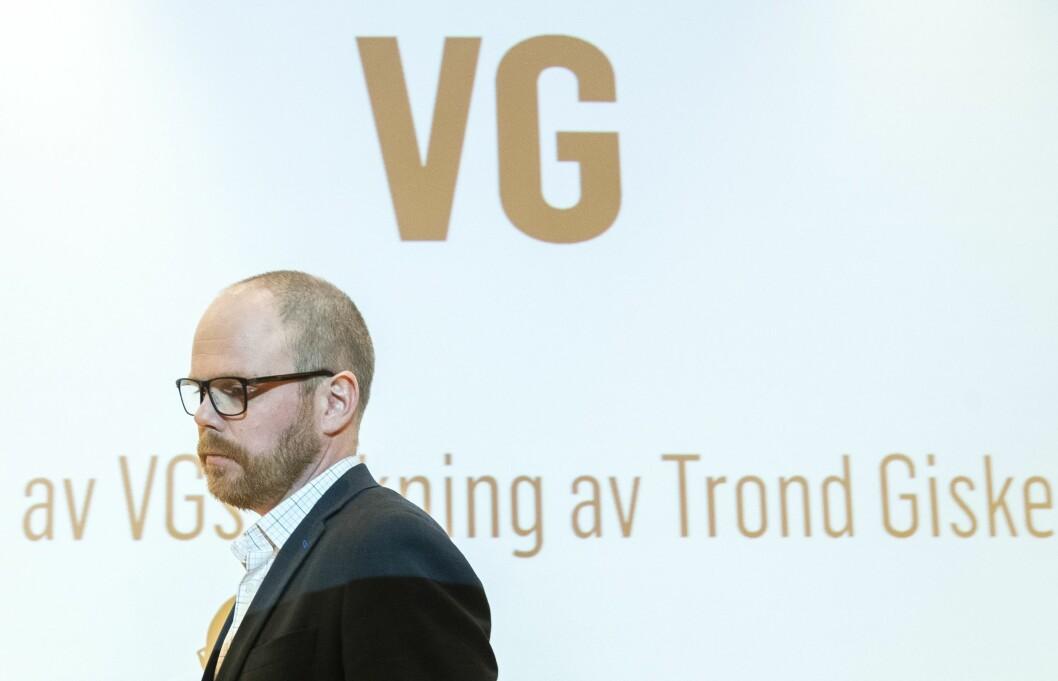 Sjefredaktør Gard Steiro under presentasjon av VGs eiga evaluering av avisa si dekning av den sokalla Giske-videosaka. Mediehuset la fram evalueringa førre onsdag,