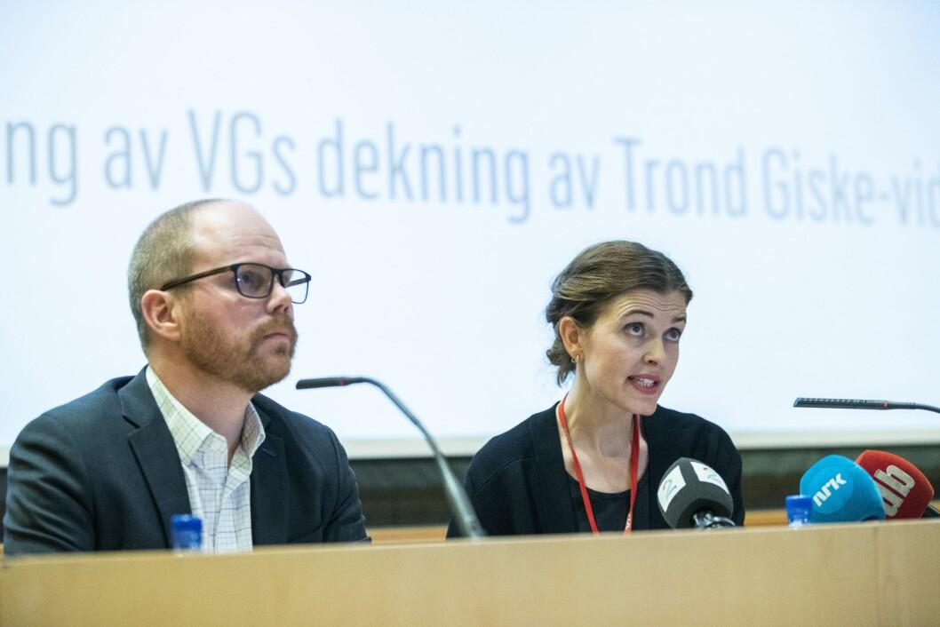 Sjefredaktør Gard Steiro og nyhetsredaktør Tora Bakke Håndlykken under VGs egen evaluering av avisas dekning av den såkalte Giske-videosaken er ferdig. Mediehuset legger fram evalueringen onsdag kveld.