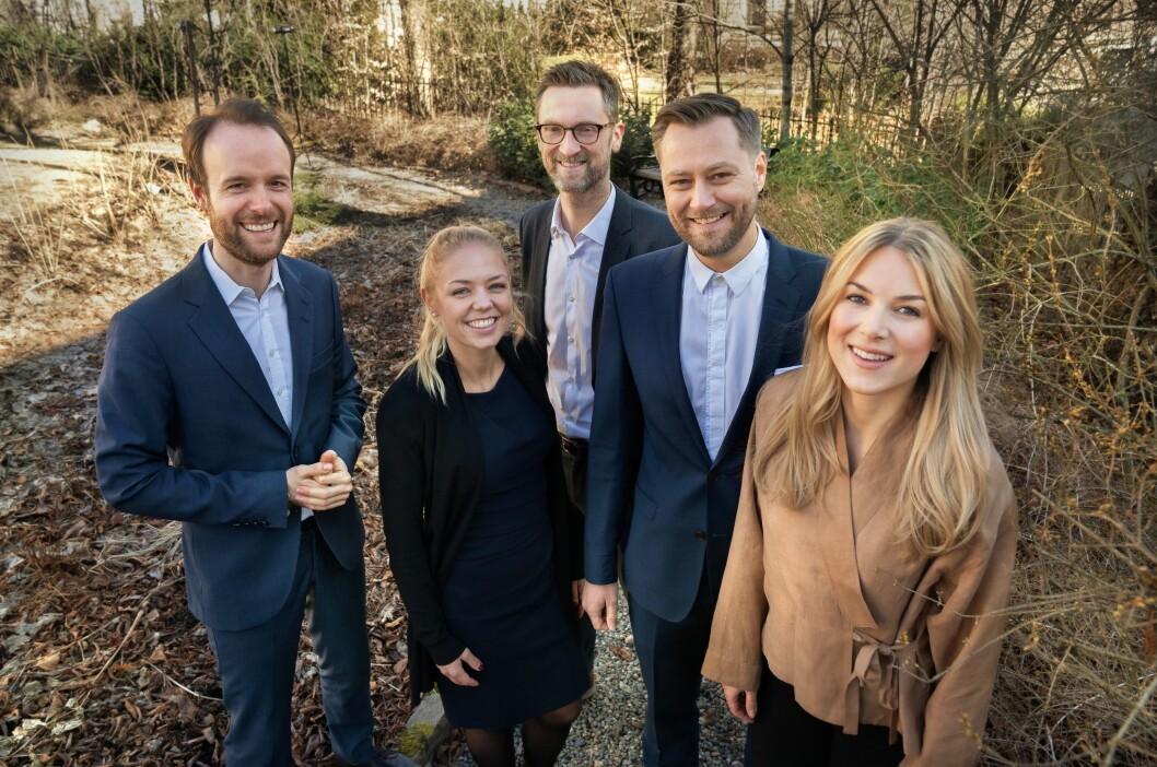 Byråleder Marius Parmann i Storm Communications –her sammen med nyansettelsene Susanne Jorde Lunde, Thomas Holst-Hansen, Frank Lynum, og Nathalie Roksvåg Stølen.