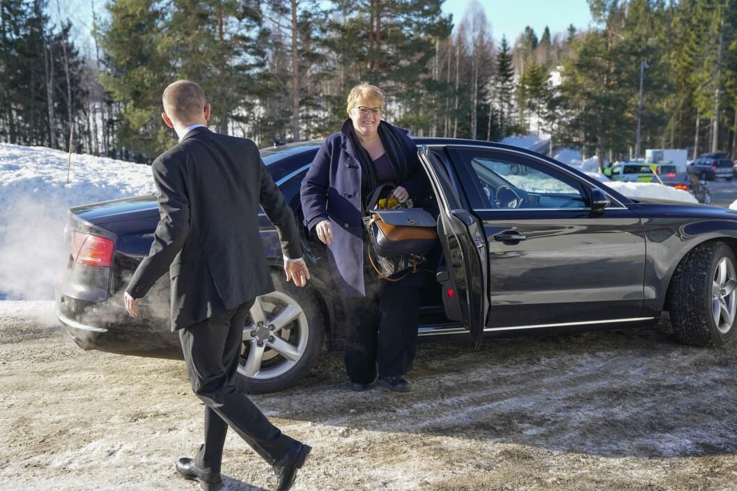 Kultur- og likestillingsminister Trine Skei Grande ankommer budsjettkonferanse ved Hurdalssjøen. Regjeringen starter budsjettarbeidet for 2020 med budsjettkonferanse på Hurdalsjøen hotell.Foto: Cornelius Poppe / NTB scanpix