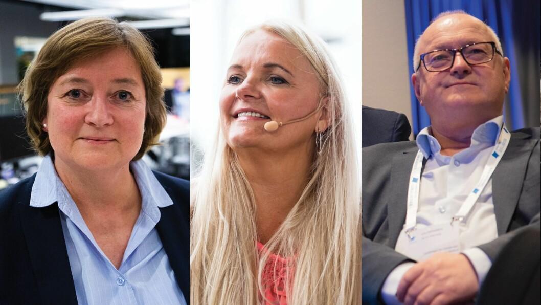 Hanna Relling Berg i Norsk Redaktørforening, Åslaug Sem-Jacobsen i Senterpartiet og Rune Hetland i LLA.